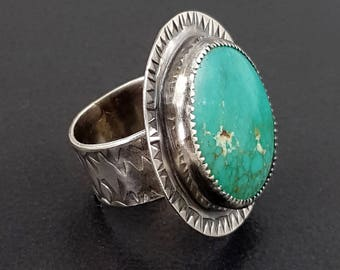 Turquoise Ring, size 7.5 ring, blue stone ring, blue turquoise ring, sterling silver, Michele Grady, stamped ring, statement ring, cocktail
