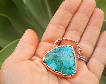 Chrysocolla pendant, Electroformed Copper pendant,  Handmade with raw materials.