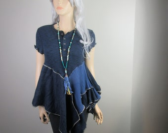 Boho Lagenlook Tunic Blue Dream Recycled Cotton Knit w/ Linen and Gauze One Size Fits S - L