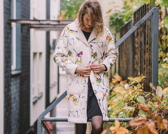 Women's Short White Coat, Women's Autumn Coat, Winter Coat, Colorful Coat, Coat With Pockets, Coat With Buttons, Warm Coat, Stylish Coat