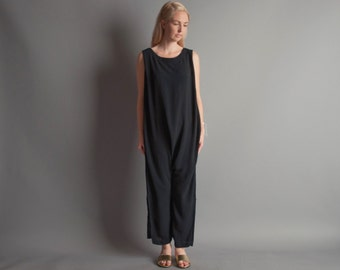 marianna black lounger jumpsuit / harem jumpsuit / dropcrotch lounger / m / 940d