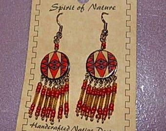 Handcrafted native style chandelier earrings