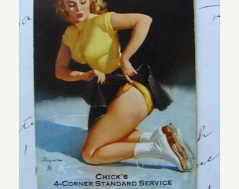 ONSALE Vintage 1950s Kitsch Pin ups Ice Skaters Winter scene Playing Trade Cards Lot