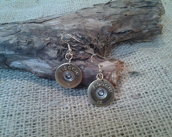 12 Gauge Fiocchi, Wire Earrings - Single or Pair - Hand Made From real shotgun shells