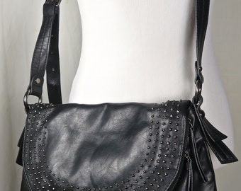Vintage Black Leather Nine West Hobo Handbag with Stud Detail, Large with Zippered Front, Cross Body