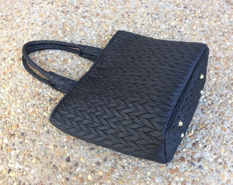 Black Quilted Nylon Tote Bag