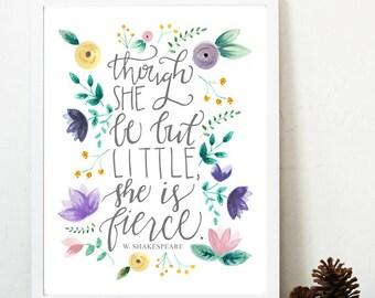 Though she be but little she is fierce print, fierce nursery print, shakespeare nursery art, purple yellow nursery art, shakespeare quote