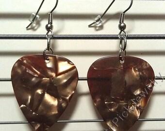 Bronze Pearl Genuine Guitar Pick Earrings