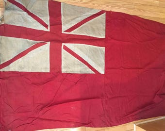 Vintage British Naval Flag - Union Jack - Tattered, Faded, Distressed