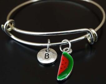 Watermelon Bangle Bracelet, Watermelon Charm, Watermelon Pendant, Watermelon Jewelry, Watermelon Birthday, Fruit Bracelet, Fruit Jewelry