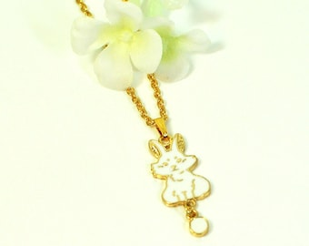 White Rabbit Necklace Smiley- Bunny Rabbit Jewelry- Bunny Necklace- Pet Rabbit- Bunny Pendant- Woodland Animal- Nature Lover Gift
