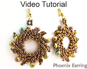 St. Petersburg Stitch Earrings Video Tutorial Pattern Beaded Earrings Beading Jewelry Making Stitch Instructions Direction Beads #9606