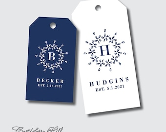 PRINTED Wedding crest gift tags, floral wreath tags, monogram tags, wedding logo tags, custom gift tag, welcome gift tag, personalized tags
