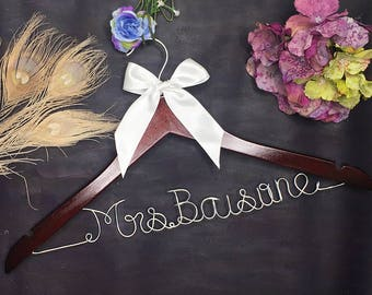 Gifts for Bride, Personalized Wedding Hanger, Bridal Hanger, Wedding Succulents, Lingerie Shower, Personalized with Bride & Groom's Names