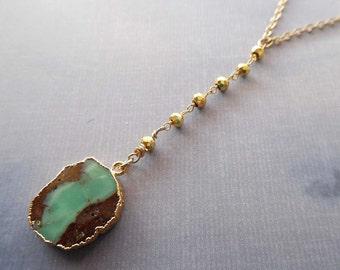 Chrysoprase Y Necklace / Natural Gold Edge Chrysoprase / Chrysoprase Pyrite Y Necklace / Brown Green Stone / Gold Egde Chrysoprase //GR4