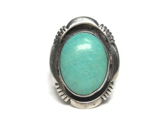 Vintage Southwestern Green Turquoise Ring Sterling Size 6.5