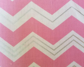 WV Chevron Carnation/White Cotton Fabric