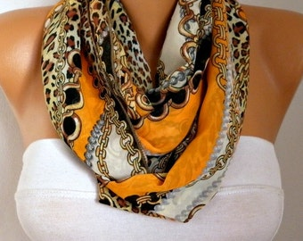 Orange Leopard &Chain Chiffon Infinity Scarf,Clothing gift, Circle Scarf Loop Scarf Gift -fatwoman