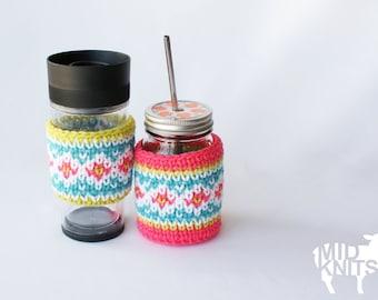 """DIY Crochet PATTERN - Fair Isle Drink Cozies - 3"""" diameter fits standard jar and coffee cup sleeve (2015033)"""