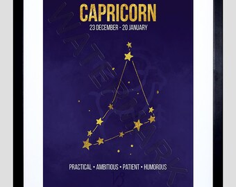 Zodiac Star Sign Birthday Astrology Capricorn Framed Wall Art Print F12X11653