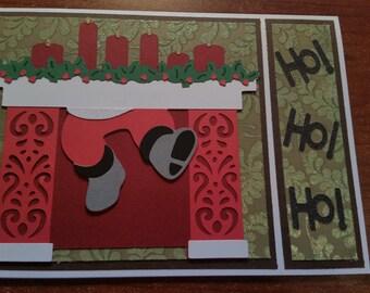 Santa in Chimney Handmade Christmas Card