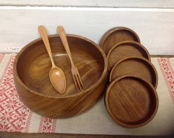 Mid Century Teak Salad Bowl with Serving Utensils and 4 bowls
