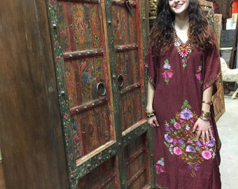 Antique INDIA Armoire Old DOOR Furniture Red Floral Hand Painted Cabinet Vintage Mediterranean Boho Shabby Chic Interiors