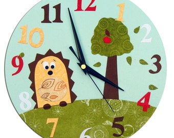 Hedgehog Clock  / Children's / Kids Wall Clock / Wildlife Nursery Decor