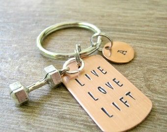 Live Love Lift Keychain, Barbell, dumbbell charm, weight lifting, fitness, exercise, working out, body building, personal trainer gift