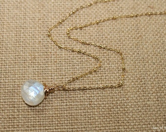 Rainbow Moonstone Necklace, Blue Flash, Wire Wrap Pendant, Moonstone Jewelry, Gold Filled or Sterling Silver