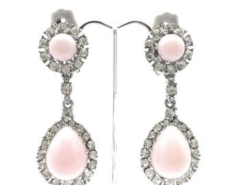 AS Featured In BRIDE Magazine VINTAGE Ciner 1960s Delicate Pink Teardrop Clip Earrings