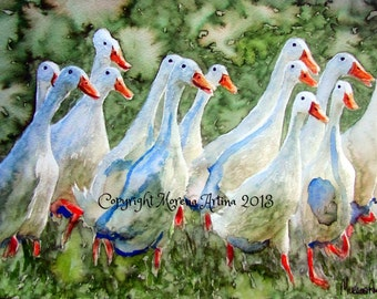 Runner Ducks Beautiful Giclee Print of  Watercolour and Ink Painting on Watercolour Paper