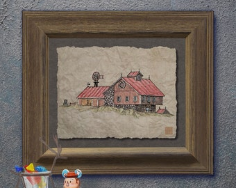 Nostalgic windmill red bank barn art Whimsical yesteryear print adds Americana art rural memories as 8x10 or 13x19 country wall decor
