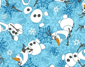 """4 Yards of 42"""" Flannel OLAF Winter Snowflakes Frozen Fabric"""