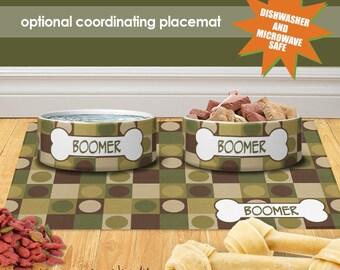 Mod Dots Personalized Dog Cat Ceramic Pet Food Bowl Custom Cat Bowl Dog Bowl Pet Bowl Pet Placemat Set Dog Cat Lover Gift Feeding Bowl Set