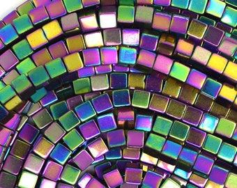 10 square 4 mm Rainbow hematite beads