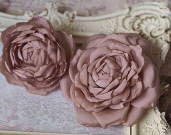 Flower Hair Clips, Pink Bridal Hair Flower, Mauve Wedding, Dusty Pink Hair Accessory, Dusty Rose Flower, Blush Headpiece