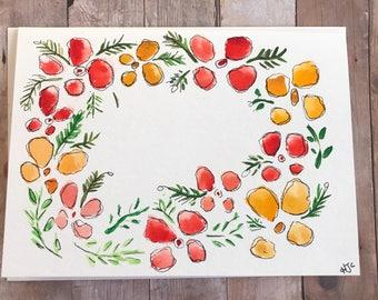 Original Watercolor Card, Hand Painted Card, Watercolor Flower Card