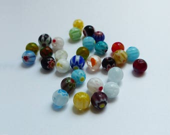 glass Millefiori beads 30 * 6mm * flower *.