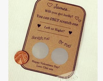 Personalised scratch card, Valentines card, Valentines Gift, Gift for him, Gift for her, Funny Gift, Naughty Gift, Funny Lottery card