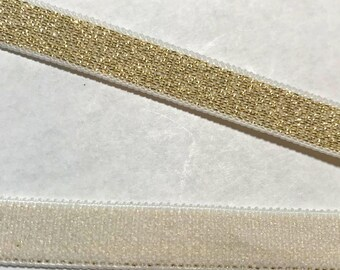 "Soft Metallic Gold Sided 3/8"" or 10mm Elastic Bra Strap - 2 yards"