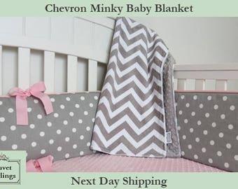 Minky Chevron and Minky Dot Baby Blanket
