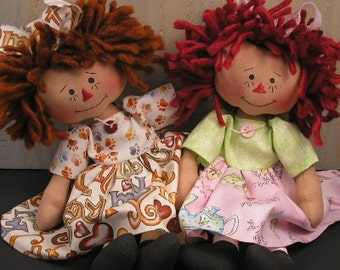 PDF E Pattern # 74 Baby Raggedy Ann Doll Primitive Folk Art Fabric Sewing Craft Country Home Decor