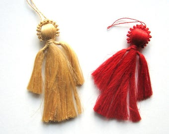 Vintage Christmas Ornaments - 1970s - Set of 2 - Fiber angel ornaments, Beige and red, Made in Bangla Desh, Primitive, Christmas decorations