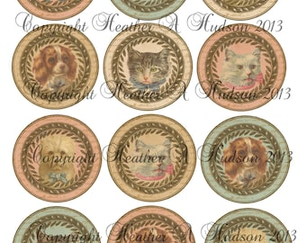 Vintage chic Victorian Cats and Dogs Label Circles Digital Collage sheet
