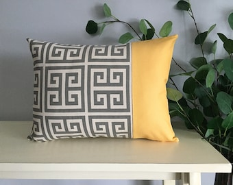 Decorative Pillow Cover, Color Block Pillow, Pillow with Yellow Stripe and Greek Key Pattern