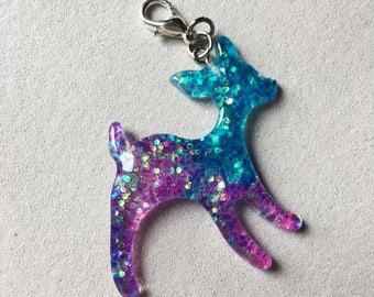 Glitter Deer Charm, TN Charm, Traveler's Notebook Charm, TN Accessories