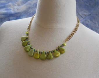 Splash necklace - olive jade, teal blue topaz, peals, citrine, vintage gold tone chain