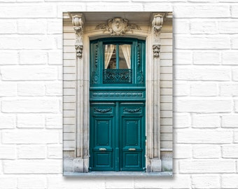 Paris Photography on Canvas - Teal Door With Window Above, Gallery Wrapped Canvas, Large Wall Art, Architectural Urban Home Decor