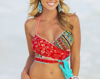 Country bikini, Wrap Bikini Cheeky Bikini, cowgirl bikini cute bikini Southwest Bikini, Bandana Bikini! -Floridita Swimwear Myakka 151S132RM